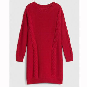 Gap Kids Red Cable-Knit Sweater Dress